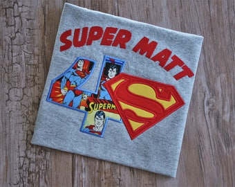 Superman inspired birthday shirt, superhero birthday shirt, superman party shirt, personalized superhero birthday shirt, superhero birthday