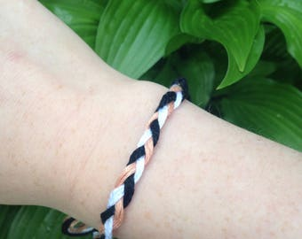 friendship bracelet, Braided black, white and peach handmade