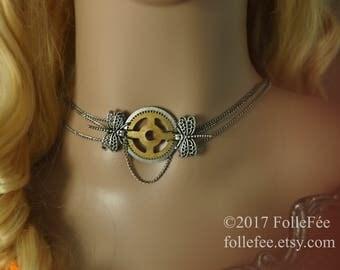 Steampunk jewelry, stempunk fairy necklace, clockwork, gear necklace