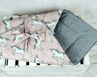 Unicorn Swaddle blanket, Receiving Blanket, wrap blanket, Newborn bedding, newborn cocoon, Blanket witch Ribbon, baby horn blanket for girl