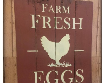 Farm Fresh Eggs Sign, Chicken Coop Sign, Farmers Market Egg Sign, Farmhouse Kitchen Sign
