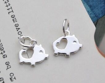 2 pcs sterling silver tiny pig charm pendant  , YB1