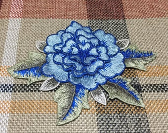 Embroidered Floral Patch, Blue Flower Appliques