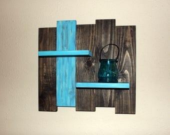 Rustic Wood Wall Shelf-  Reclaimed Wood Shelf-  Distressed Pallet Wood- Primitive Home Decor-  Teal Wall Decor