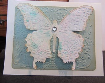 3D Shabby Chic Butterfly Card/Vintage-Look Butterfly Card/Cottage Chic Card/Wife-Mother-Anniversary-Friend-Birthday-Sympathy-Any Occasion