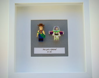 Toy Story mini Figures  Woody & Buzz Lightyear box framed picture 25 by 25 cm