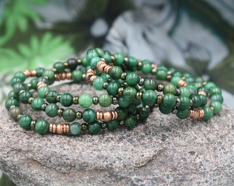 Women's Beaded Bracelet, African Jade Beads, Antique  African Heishi, Lustrous Vintage Czech Beads, Beacon Bracelet