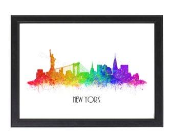 New York Skyline Watercolor Print, New York Skyline Poster, New York Print, Watercolor Print, New York City, Wall art A4 8x10 Unframed