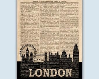 London Skyline Print, London Poster, London Decor, London Wall Art, London Art Print, London Wall Decor, London Home Decor, SKU L11