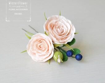 Rose hair pin Wedding Hair Pins Peach wedding flower Bridal Flower hair pin Woodland floral Head Piece Bridal Accessories Hair clip Roses