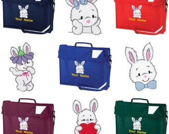 Personalized Embroidered School Book Bag-Messenger bag Preschool - kindergarten book bag with strap  With Cute Rabbit Bunny Design- Name