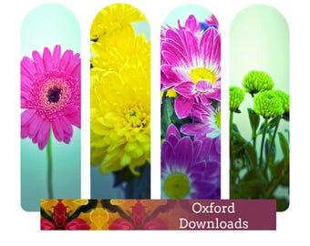 SALE Floral Art Printable Bookmarks, Art, Unique Bookmarks, Floral Photography, Scrapbooking, Cardmaking, Digital Download Photography