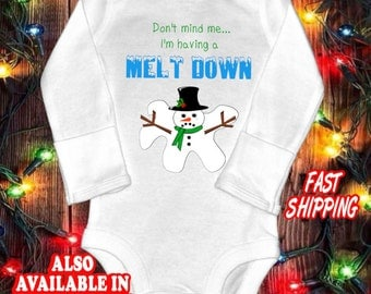 Funny baby one-piece bodysuit shirt - cute snowman baby shirt