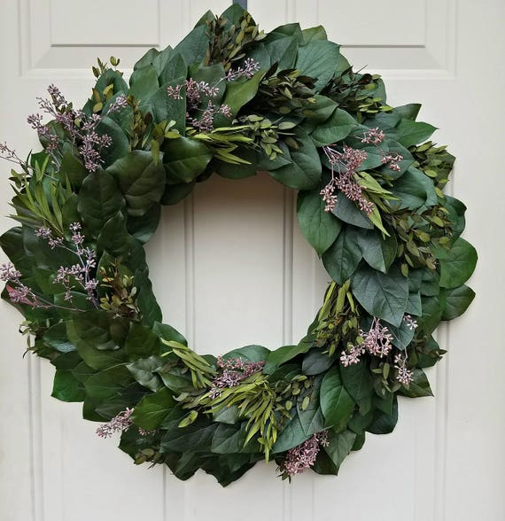"Custom sizes, preserved wreath, 24"" wreath, small wreath, leaf wreath, large wreath, indoor wreath, eucalyptus wreath, natural wreath"