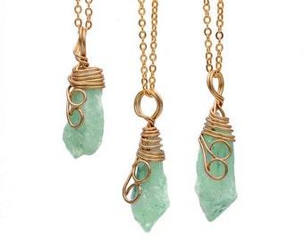 Gemstone Necklace - Amazonite Gemstone Necklace - Boho Jewlery - Stone Necklace - Amazonite Wire Wrapped Gemstone Necklace