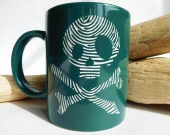 Skull engraved mug coffee cup personalized gift funny mug birthday