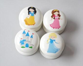 Princess Drawer Knobs, Princess Drawer Pulls, Dresser Pulls, Cupboard Knobs, Children's Room, Kids Room, Nursery Decor, Nursery, Kids Knobs.