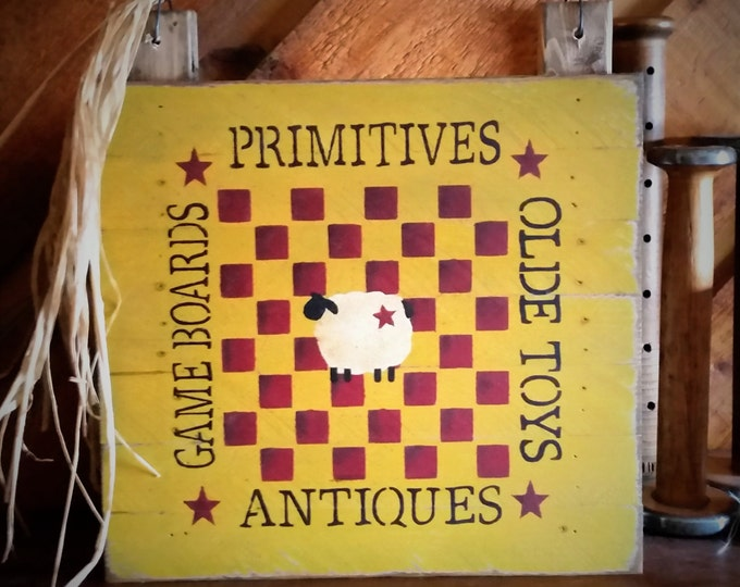 Primitive Sheep/CheckerBoard Wood Sign