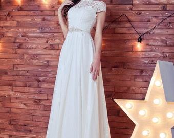 Empire Waist Wedding dress, chiffon wedding dress, short  sleeves wedding dress, greece dress with  sleeves, wedding gown,