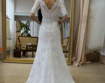 wedding dress Alisia, a line wedding dress, sleeves wedding dress, v neck wedding dress, lace wedding dress,wedding dress with train