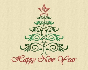 Merry Christmas Tree evergreen  Machine Embroidery design  2 Sizes Instant Download