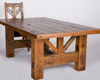 rustic style dining table and two benches any size...quality reclaimed timber ...solid wood..dining table
