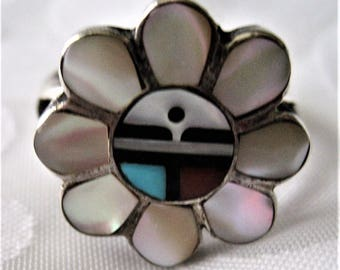 Sterling Silver Tribal Zuni Multi Stone Inlay Ring Mother of Pearl Turquoise Coral Onyx Zuni Sun Represents Happiness Boho Art Ring