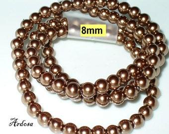 1 strand 82cm = 114 glass pearls 8 mm Brown (808.4.1)