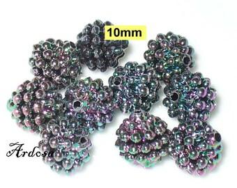 10 ball beads, beads of berries, black iridescent Rainbow (K647. 22)