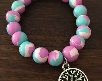 Pastel Pink + Green Polymer Bracelet