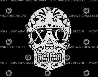 Chi Omega Candy Skull Inverted | vinyl decal for laptops, car windows, water bottles, just about anywhere!