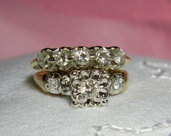 Art Deco Diamond Engagement Wedding Ring Set - Vintage Diamond Engagement Ring Set 14K - Art Deco Diamond Ring 14K
