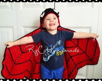 MADE TO ORDER | Spiderman blanket | Hooded blanket | Superhero blanket | Crochet Spiderman cape | Superhero cape | Spiderman Costume