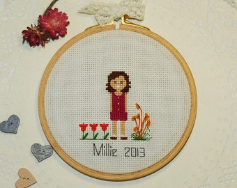 Custom Cross Stitch portrait of your child Custom portrait  Custom cross stitch Housewarming Gift