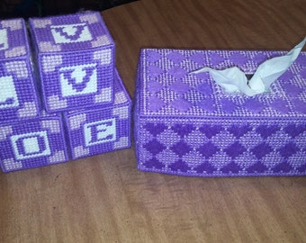 Plastic canvas tissue cover with LOVE blocks