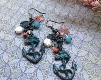 Patina anchor earrings