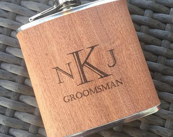 Groomsmen Flask. Flask. Wood Flask. Personalized Flask. Fathers Day Gift. Husband. Groomsman Gift. Mens. Dad. Boyfriend. Birthday.