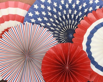 Red, White, and Blue Party Fan Set / Hanging Party Decor / Party Fans / Fan Set / Paper Fans / 4th of July / Memorial Day / America
