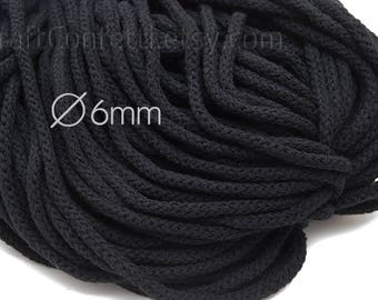 Black cotton cord 6mm Drawstring rope Black braided rope Round cotton cord Craft material Macrame cord Rug Basket Decorative rope / 5 meters