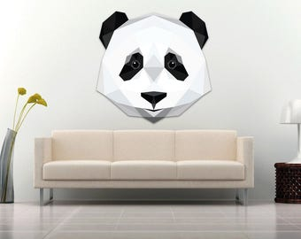 Panda wall Decal Sticker Modern Geometric Low poly Panda spirit animal - color High Quality Laminated Decal for Living Guest and Kids room