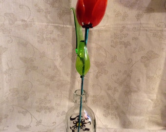Glass Glower TULIP Made Of Stained Glass. Lampwork.