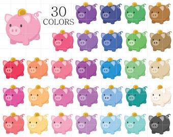 Piggy Bank Clipart, Piggy Bank Clip Art, Piggy Bank Clipart, Digital Banks, Rainbow Piggy Bank Clipart, Saving Money Clipart, Money Clipart