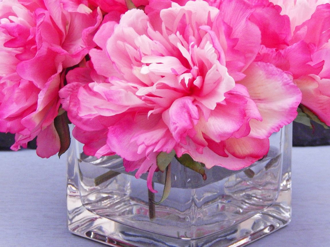Pink hot pink silk peonypeonies glass vase faux water gallery photo gallery photo gallery photo reviewsmspy