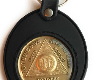 AA NA Medallion Holder Keychain Black Silicone Universal Fit For Sobriety Coins