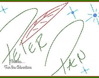 Peter Pan Autograph Digital Embroidery Machine  Design File 4x4 5x7 6x10