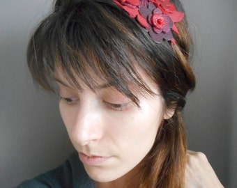 Marriage, retro, romantic, leather flower Head-band.