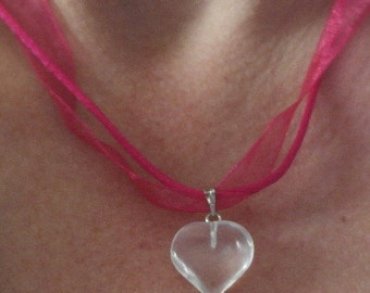 hand made valentines clear heart gem stone pendant pink necklace