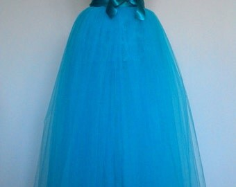 Turquoise or baby pink tulle maxi-skirt/tutu 115 cm lenght for adult