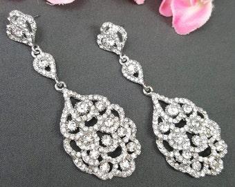 Wedding Earrings Chandelier, Crystal Wedding Earrings, Vintage Bridal Earrings, Crystal Chandelier Earrings, Crystal Jewelry, Silver Earring