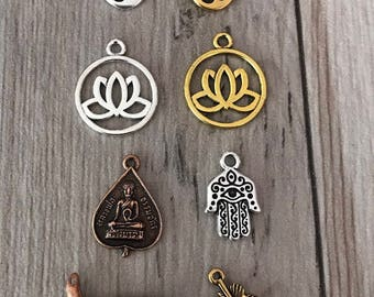 Charms for Malas and Bracelets/Lotus Charm/Om Charm/Add a Charm/Mala Necklace Charm/Yoga Charms/Meditation Charms/Lotus Flower/Feather Charm
